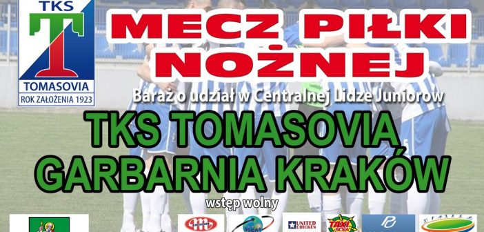 Zapraszamy na jutrzejszy mecz juniorów starszych z Garbarnią Kraków.